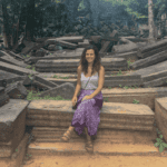 Jessica from Jagsetter at a temple in Southeast Asia